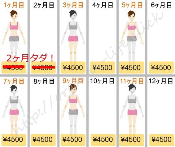 エステタイム1年コース4500円