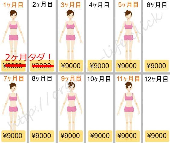 エステタイム1年コース9000円